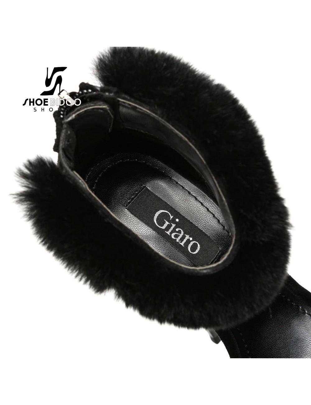 Giaro Black Giaro SWEET LOVE fur ankle belt sandals
