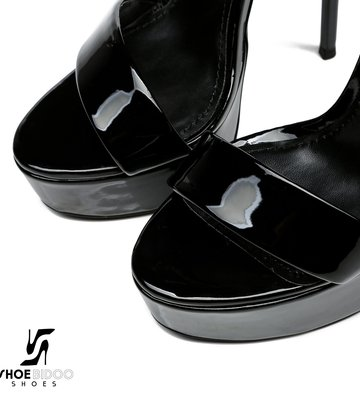 Giaro Zwart glanzende Giaro MINA sandalen met hoge enkelriem