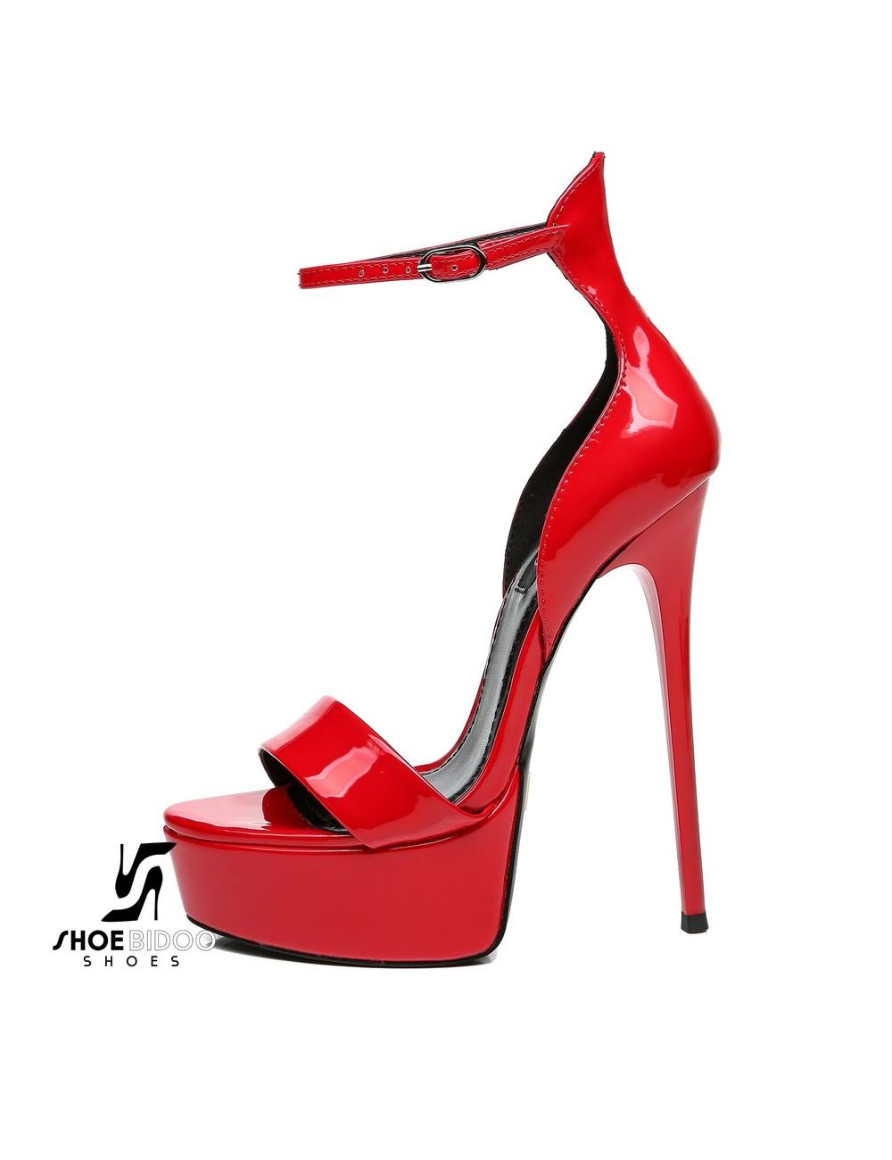 Giaro Rode glanzende Giaro MINA sandalen met hoge enkelriem