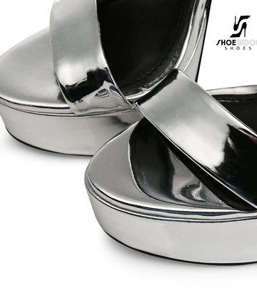 Giaro Silver Shiny Giaro MINA high ankle belt sandals