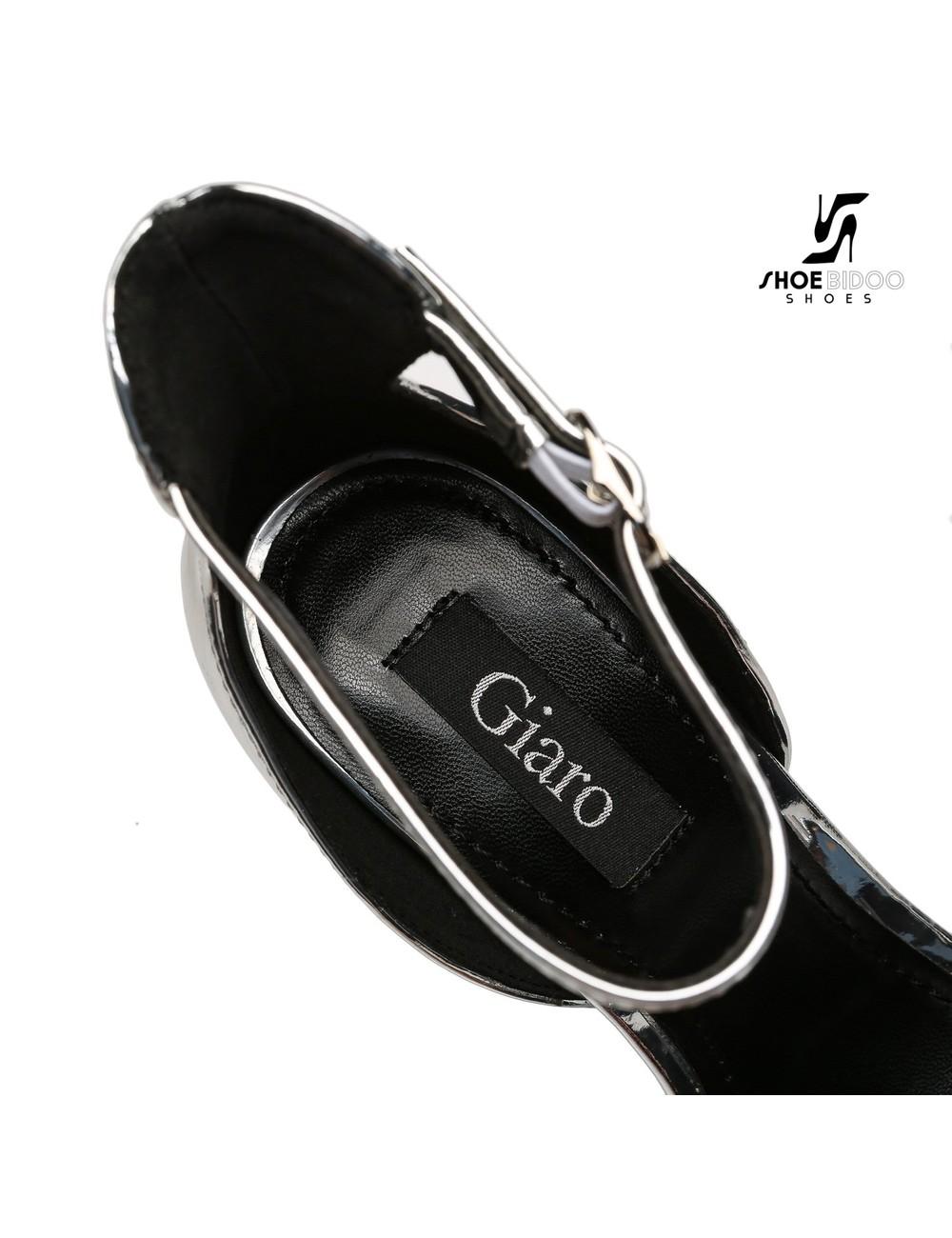 Giaro Zilver glanzende Giaro MINA sandalen met hoge enkelriem belt