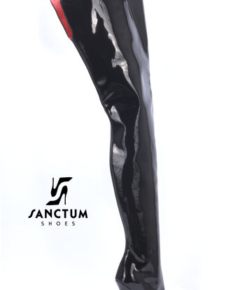Sanctum High Italian crotch boots GAIA with stiletto heels in genuine patent leather