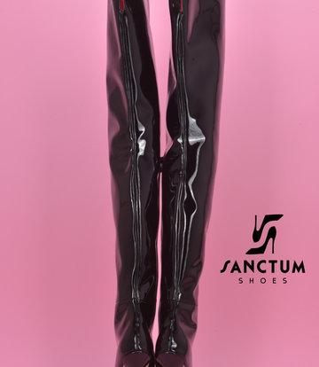 Sanctum Hohe italienische Schrittstiefel GAIA mit Stilettoabsatz aus echtem Lackleder