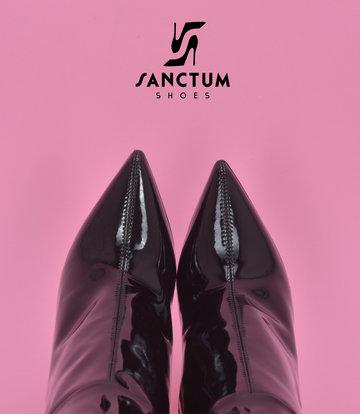 Sanctum Hohe italienische Kniestiefel GAIA mit Stilettoabsatz aus echtem Lackleder