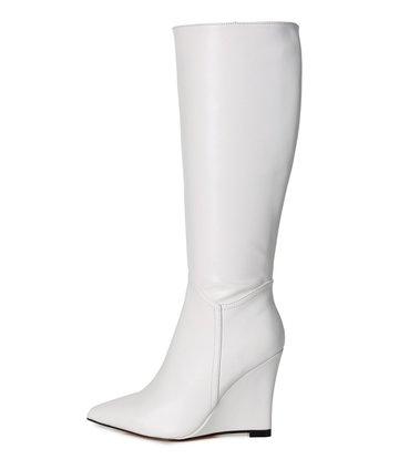 Giaro Giaro knee boots with wedge heel ELLA in White