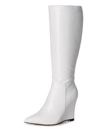 Giaro Giaro knielaarzen met sleehak ELLA in Wit