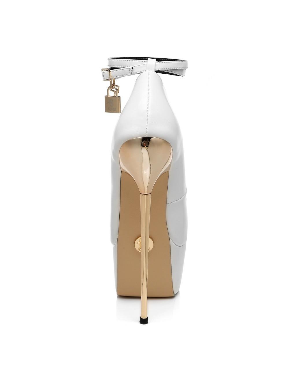 SLICK White matte ESSENCE Giaro SLICK platform pumps with locking ankle strap