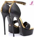 """Giaro Black & gold 3D Giaro """"Galana"""" sandals"""
