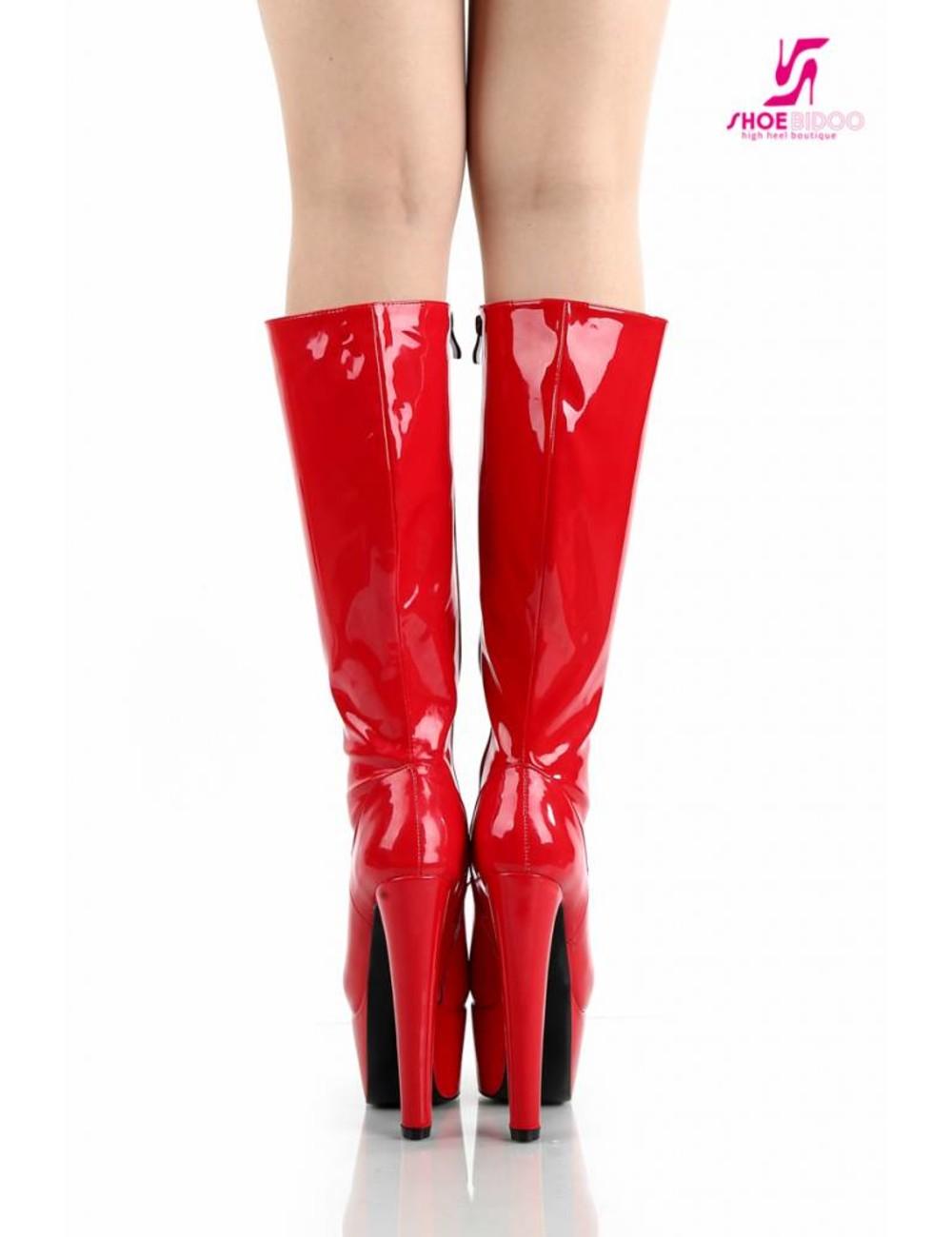 """Giaro Red shiny Giaro """"Destroyer"""" knee boots"""