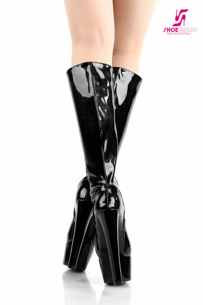 """Giaro Black shiny Giaro """"Destroyer"""" knee boots"""