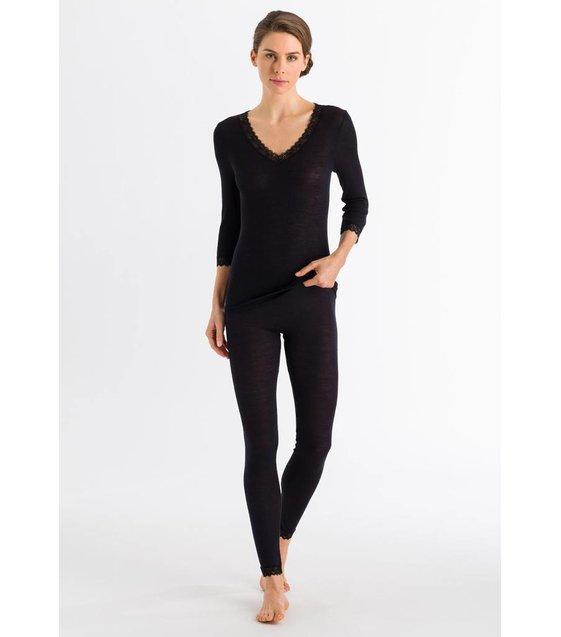 Hanro Shirt Woolen Lace 072600 Black