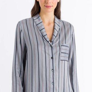 Hanro Shirt Lange Mouw Malie 076494 Powder Blue Stripe