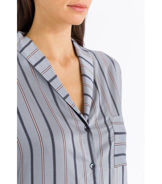 Hanro Nachthemd Malie 076495 Powder Blue Stripe