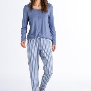 Hanro Broek Sleep & Lounge 077882 Soft Blue Stripe