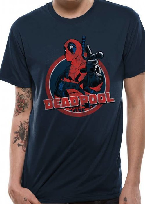 Marvel Logo Point | Deadpool | T-shirt Navy