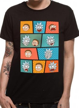 Rick and Morty Pop Art Faces - Rick & Morty - T-shirt Black
