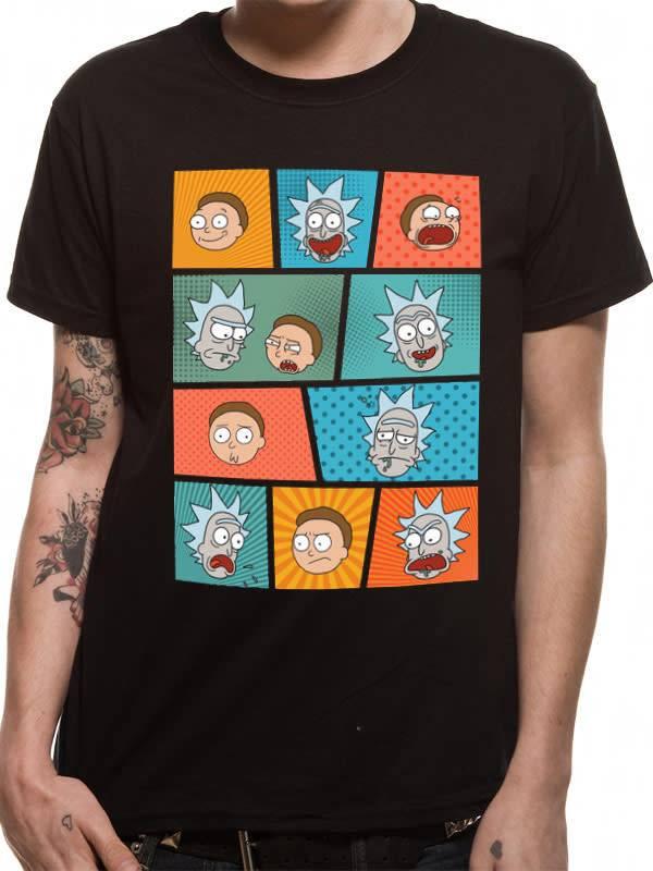 Rick and Morty Pop Art Faces - Rick & Morty - T-shirt Black