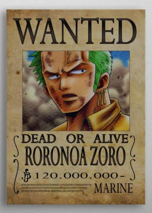 Sylvain MASSOT Wanted poster of Roronoa  | Manga