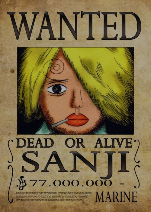 Nicolas Massot Wanted of Sanji from One Piece  | One Piece Wanted