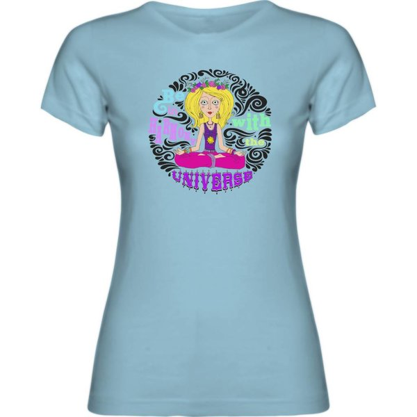 Ladies T-shirt met print: Be in harmony with the university