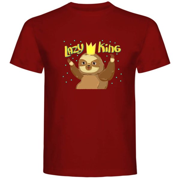 T-shirt met print: lazy king