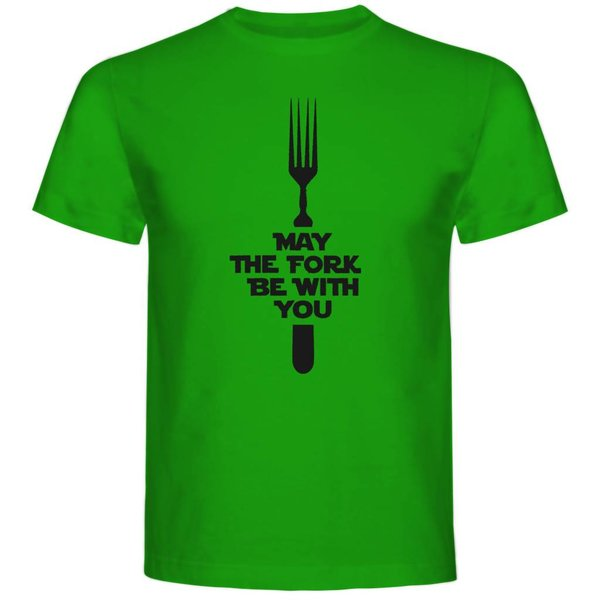 T-shirt met print: May the Fork be with you