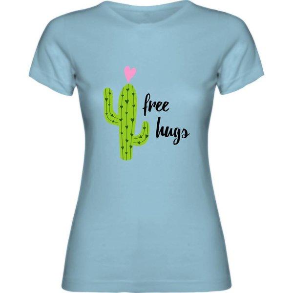 Ladies T-shirt met print: free hugs