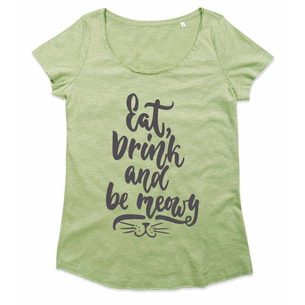 T-shirt met print: Be Meowy
