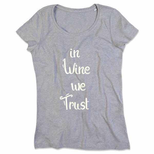 Ladies T-shirt met print: In wine we trust