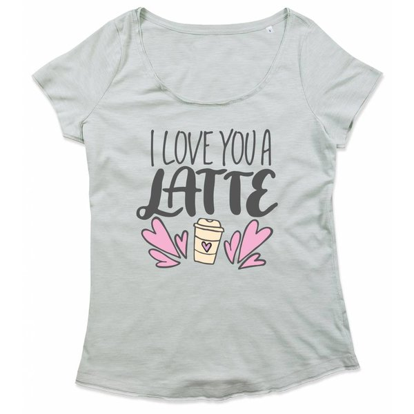 T-shirt met print: I love you a latte
