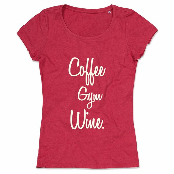 Ladies T-shirt met print: Coffee Gym Wine.