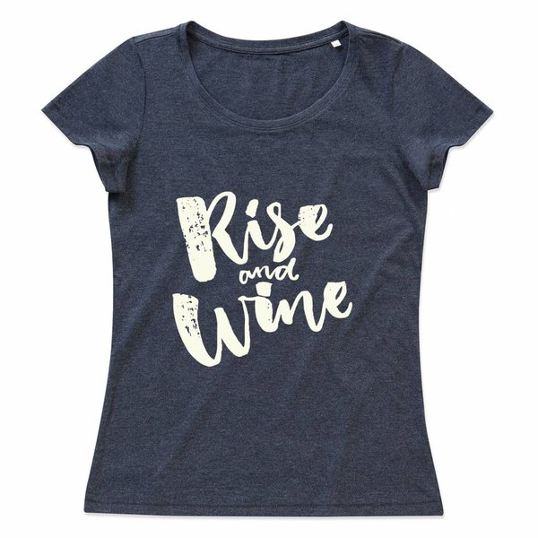 Ladies T-shirt met print: Rise and Wine