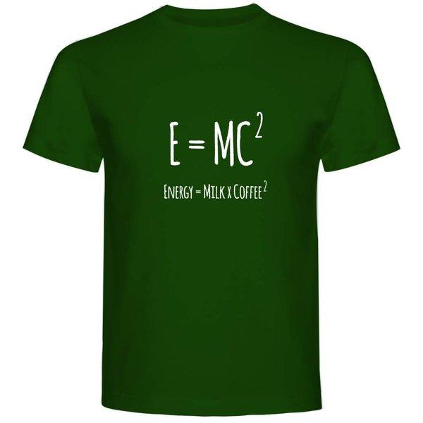 T-shirt met print: E=MC2 (Energy=MilkXCoffee2)