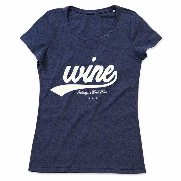 Ladies T-shirt met print: Wine Always a good idea