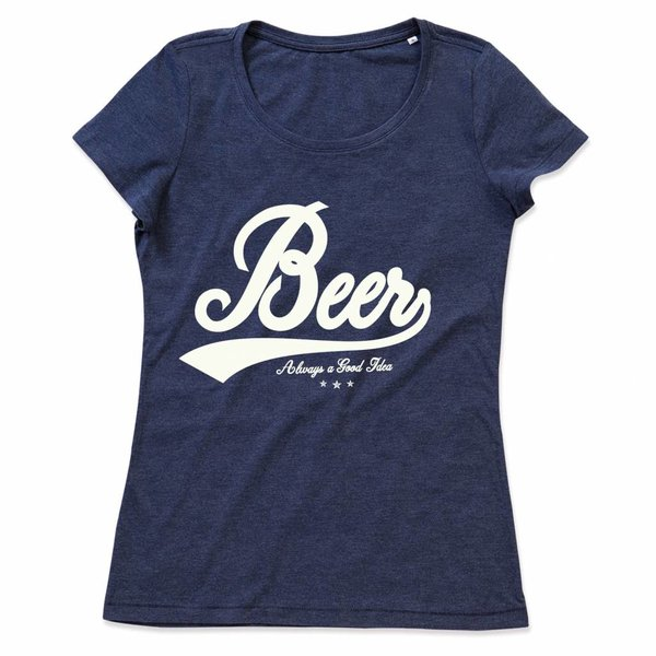 Ladies T-shirt met print: Beer Always a good idea