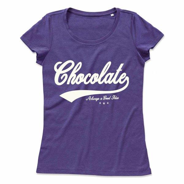 Ladies T-shirt met print: Chocolate always a good idea