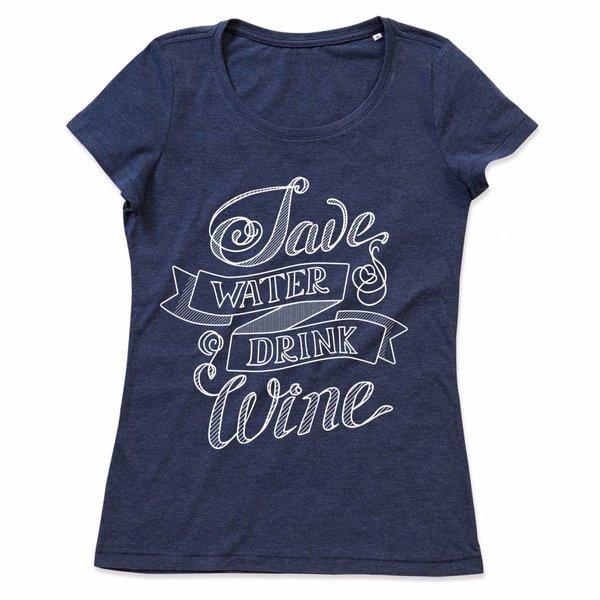 Ladies T-shirt met print: Save water drink Wine