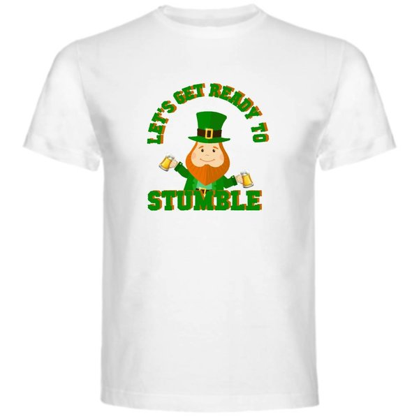 T-shirt met print: Let's Get Ready To Stumble