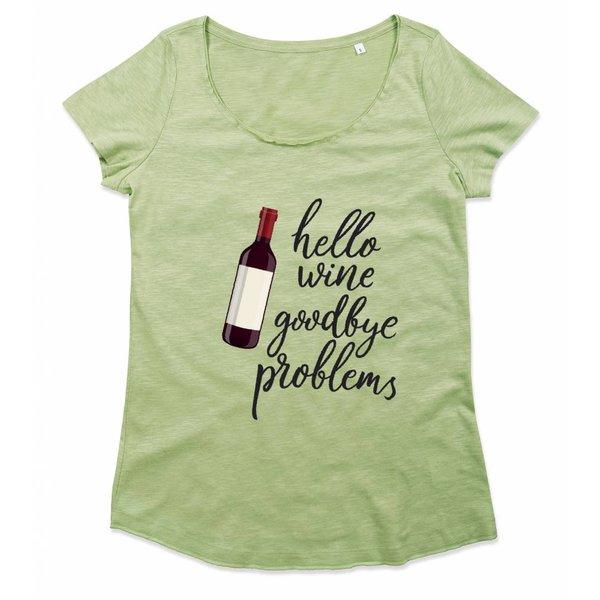 Wijn T-shirt met print: Hello Wine Goodbye Problems