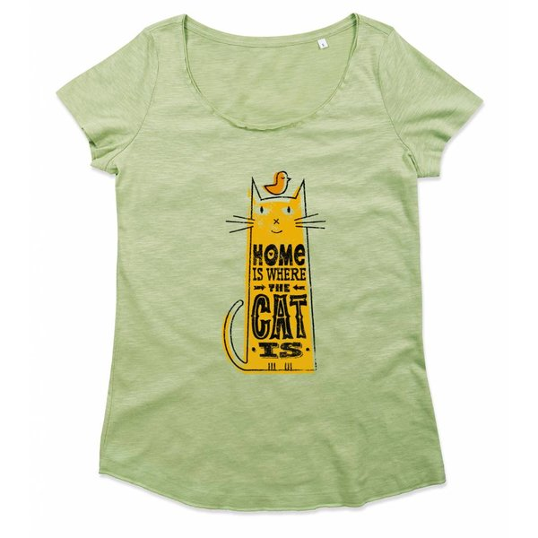 Ladies T-shirt met print: Home Is Where The Cat Is
