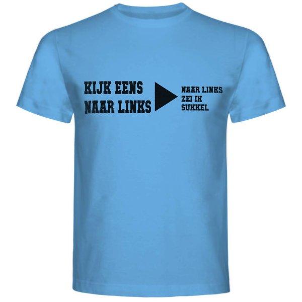 T-shirt met print: Kijk Eens Naar Links