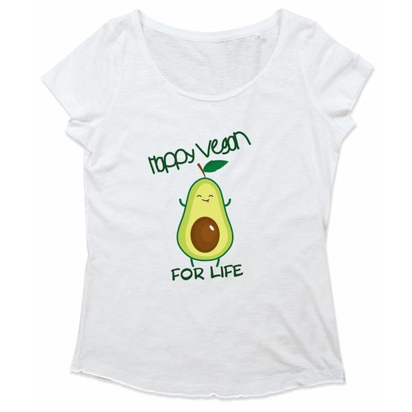 Ladies shirt met opdruk: Happy Vegan for life