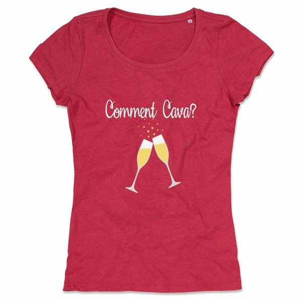 Wine T-shirt met print: Comment Cava?