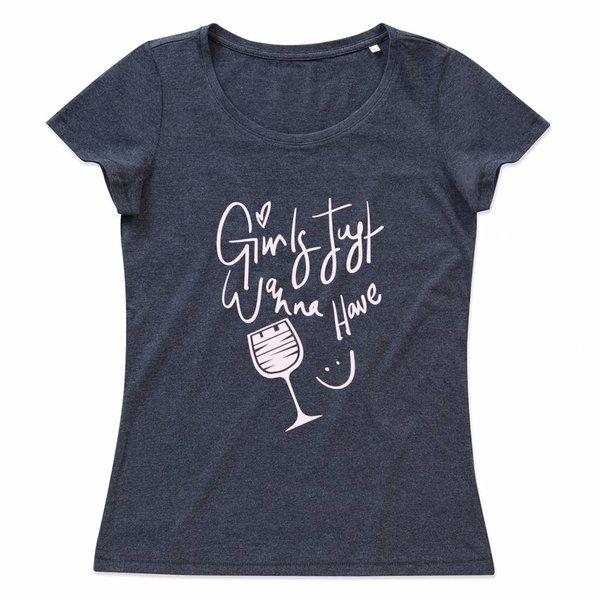 Wijn T-shirt met print: Girls just wanna have wine