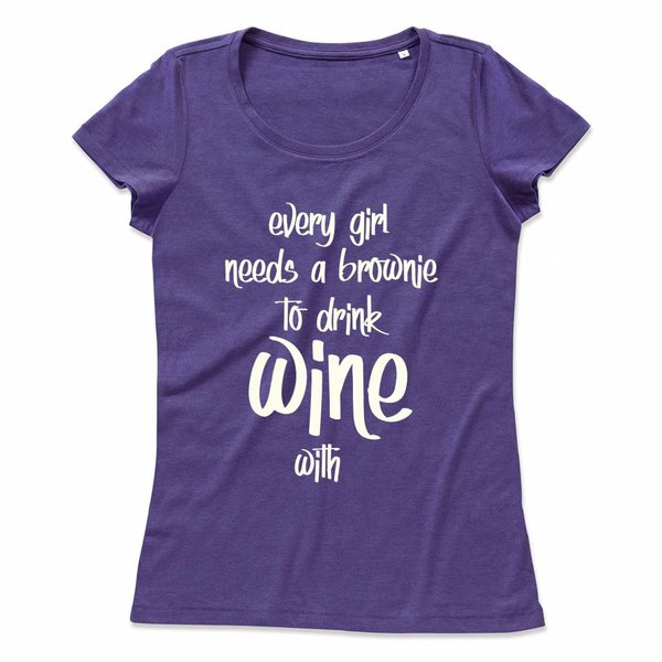 Wijn T-shirt met print: Every girl needs a brownie to drink Wine with