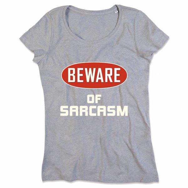 Ladies T-shirt met print: Beware of sarcasm