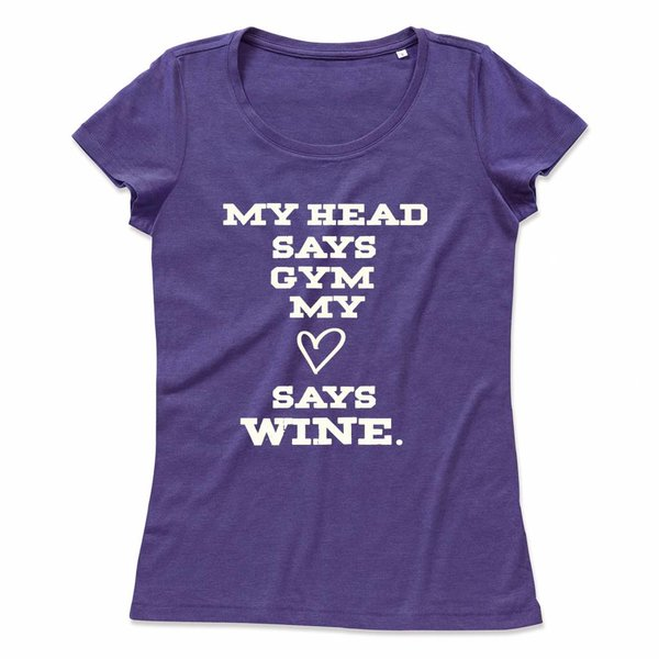 Wijn T-shirt met print: My head says gym, my heart says wine.