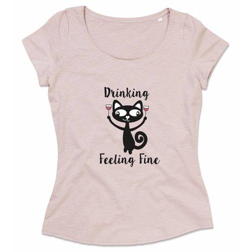 Drinking wine feeling fine.