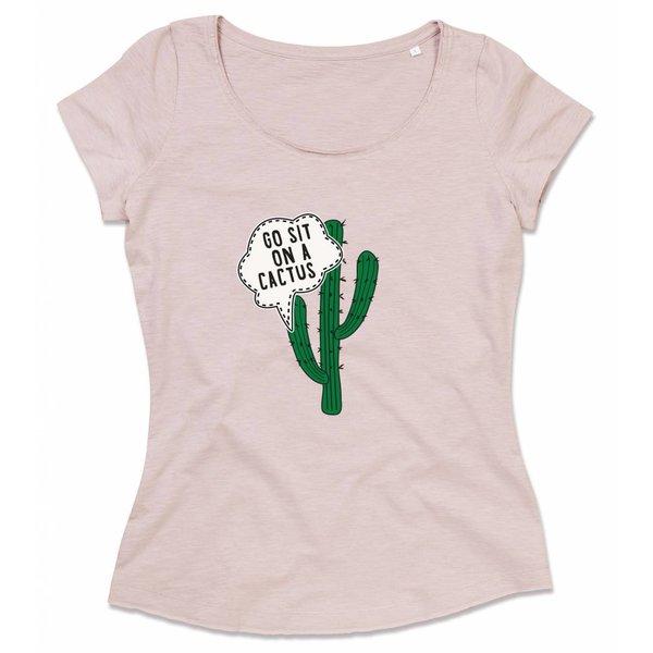 Ladies shirt met opdruk: Go sit on a cactus