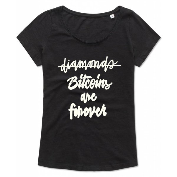 Ladies shirt met opdruk: Bitcoins are forever